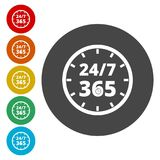 Open 24/7 - 365, 24/7 365, 24/7 365 sign. Simple vector icons, vector illustration color circle Royalty Free Stock Photos