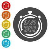 Open 24/7 - 365, 24/7 365, 24/7 365 sign. Simple vector icons, vector illustration color circle Stock Image
