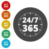 Open 24/7 - 365, 24/7 365, 24/7 365 sign. Simple vector icons, vector illustration color circle Stock Photo