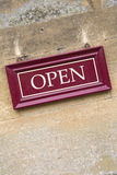 Open Sign on Stone Wall. On Diagonal Slant Stock Photography