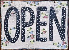 Open sign in store window Stock Photography