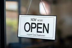 Free Open Sign Support Local Business Royalty Free Stock Photo - 180833455