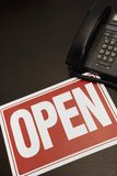 Open Sign With A Telephone Stock Photos