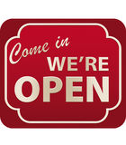 Open Sign (vector). Vector illustration of Come In We're Open Sign with volume Royalty Free Stock Photos