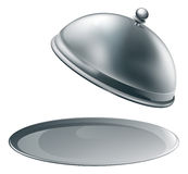 Open silver platter Stock Photos