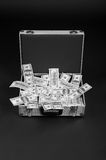 Open silver suitcase full of money Royalty Free Stock Images