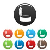 Open silver tin can icons set color royalty free illustration