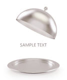 Open silver tray on a white background Stock Photography