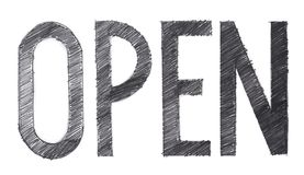Open single word pencil stroke drawn has clipping paths. Open single word pencil stroke hand drawn black and white, Isolate has clipping paths Royalty Free Stock Photo
