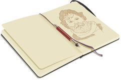 Open Sketchbook with Pen Royalty Free Stock Images
