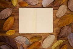 Open sketchbook with yellow paper on warm wooden background. Orange leaf frame on table top view.