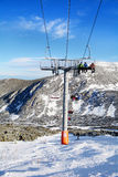 Open   ski lift in ski resort Borovets in Bulgaria .Beautiful winter landscape Royalty Free Stock Photography