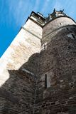 Looking up at old church tower royalty free stock photography