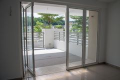 Open Sliding Door. House interior showing open door Stock Image