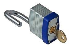 Open slot en sleutel Stock Foto's