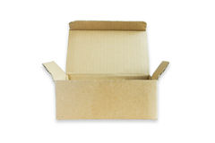 Open small cardboard box isolated Stock Images