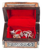 Open small red treasure box Stock Photography