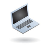 Open smart laptop isolated. Illustration of a handy small laptop computer isolated Royalty Free Stock Images
