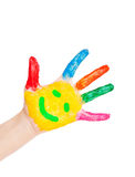 Open smiling hand waving hello. Stock Photography