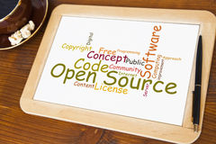 Open source. Blackboard with open source word cloud Stock Image
