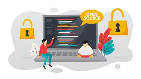 Open source concept. Free software for the computer. Download and install file for free. Flat vector illustration stock illustration