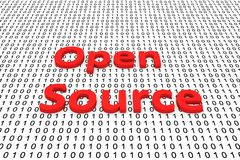 Open Source. In the form of binary code, 3D illustration Stock Photos