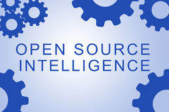 Open Source Intelligence concept. OPEN SOURCE INTELLIGENCE sign concept illustration with blue gear wheel figures on pale blue background Stock Photo