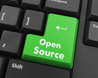 Open source keyboard button. Hand pushing  open source keyboard button Royalty Free Stock Photography