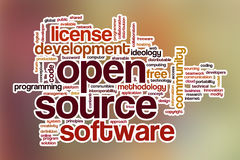 Open source word cloud with abstract background Royalty Free Stock Images