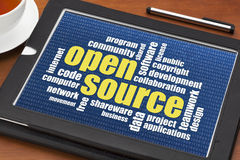 Open source word cloud. Computer software development concept - open source word cloud on a digital tablet Royalty Free Stock Images