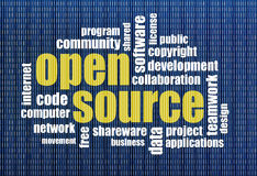 Open source word cloud. Software development concept - open source word cloud on a binary computer screen background Royalty Free Stock Image