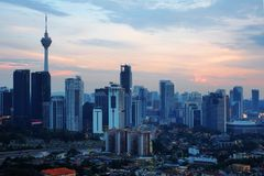 Kuala Lumpur cityscape around the financial district in Malaysia capital city with the KL tower in the background. Royalty Free Stock Images