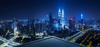 Open space balcony with Kuala Lumpur cityscape skyline view. Night scene stock photo