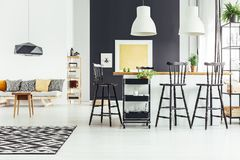Open space with bar stools royalty free stock image