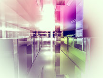 Open space, clean room with shapes in 3d, business space, hospit Royalty Free Stock Photo