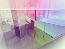Open space, clean room with shapes in 3d, business space, hospit. Als or art gallery Stock Photography