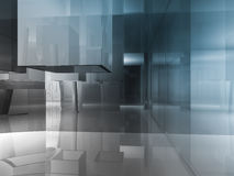 Open space, clean room with shapes in 3d, business space, hospit. Als or art gallery Royalty Free Stock Photography