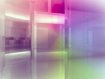 Open space, clean room with shapes in 3d, business space, hospit Stock Images