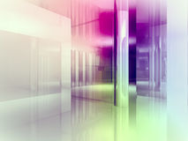 Open space, clean room with shapes in 3d, business space, hospit Stock Photo