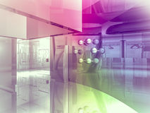 Open space, clean room with shapes in 3d, business space, hospit Royalty Free Stock Photos