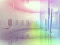 Open space, clean room with shapes in 3d, business space, hospit Royalty Free Stock Image