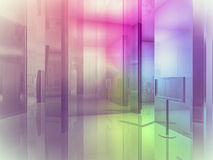 Open space, clean room with shapes in 3d, business space, hospit Royalty Free Stock Images