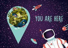 Open space. Earth location in a deep space. Illustration with Earth, astronaut and location marker. You will not get lost royalty free illustration
