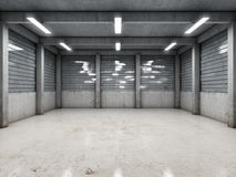 Open space empty garage. Or warehouse. 3D illustration Royalty Free Stock Photos
