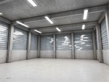 Open space empty garage. Or warehouse. 3D illustration Royalty Free Stock Photography