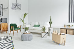 Open space flat interior stock image