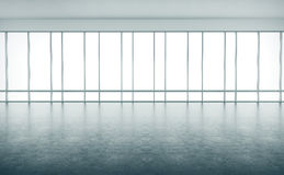 Open space interior with large windows. 3d Royalty Free Stock Photos