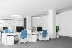 Open space office with blue chairs side view Stock Illustration