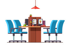Open space office with combined desks and chairs Royalty Free Stock Photo
