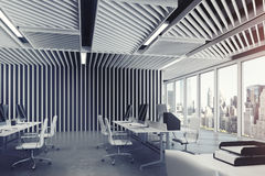 Open Space Office Gray Wood Front Royalty Free Stock Images